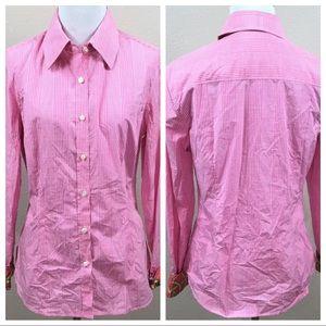 J. McLaughlin Button Down Shirt Sz 8 Pink Gingham